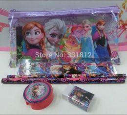 Wholesale Princess Erasers - 0set !Frozen princess doll pattern stationery set school supplies pencil case ruler sticker eraser kid gift