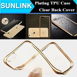 Wholesale Frost Plastic Skin - Ultrathin Slim Frosted Matte Case Electroplate Soft TPU Transparent Clear Cover Skin for iPhone 6 6S plus 5 5s se Gold Bumper