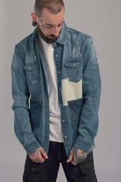 Wholesale winter style jacket for men - Europe Style Fashion Men's Denim Jacket Men Vitange Patchwork Outerwear Coats Jackets Clothing For Autumn Winter
