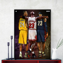 Wholesale Paintings Basketball - 1 Pcs Jordan James Basketball Star Poster Paintings On Canvas Modern Wall Pictures For Living Room Home Decor No Frame Painting