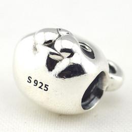 Wholesale Glass Charm Panda - Adorable Peaceful Panda Charm 100% 925 Sterling Silver Beads Fit Pandora Charms Bracelet DIY Fashion Jewelry
