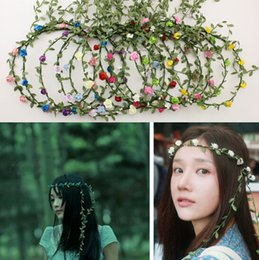 Wholesale Bridal Forehead - Party Wedding Bridesmaid Floral flower garland forehead hair garlands Bride Wedding Hair Band bridal wreath flowers rattan diy free shipping
