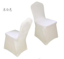 Wholesale lycra wholesalers - New Arrive Universal White spandex Wedding Party chair covers White spandex lycra chair cover for Wedding Party Banquet many color