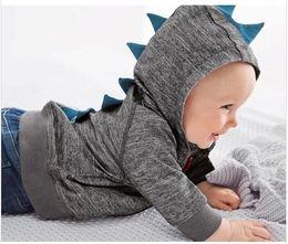Wholesale Boys Tracksuit Zipper - 2015 Small Baby Boys Dinosaur Hoodies Gray Black Zipper Hooded Outwear Kids Clothing Children Long Sleeve Sweatershirts Boy's Tracksuit