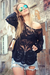 Wholesale Chiffon Spring Blouse - Semi Sheer Women Long Sleeve Lace Shirts Blouses 2015 Spring Summer Embroidery Floral Lace Crochet Tops Hallow out Lace Blusas