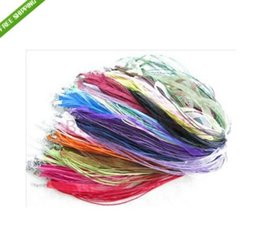 "Wholesale Wholesale Organza Ribbon Chokers - Wholesale-Free Shipping Deep Mixed Color Silk Organza Ribbon Necklace Strap Cord 18"" Chain 100pcs Lot"