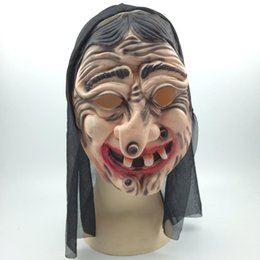Wholesale Latex Clothes Wholesale - Cosplay Witch Mask Latex Halloween Party masks with Black Clothing Full Face Ghost Mask Free shipping