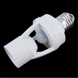 Wholesale Pir E27 - 2017 New New E27 PIR Induction Infrared Motion Sensor LED lamp Base Holder With light Control Switch 110V-240V 60W Bulb Socket Adapter