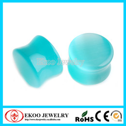 Wholesale Ear Tunnel 25mm - Heavy Gauge Green Cats Eye Natural Stone Ear Plugs Mixed Sizes from 16mm-25mm Lot of 8pcs