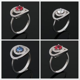 Wholesale Wholesale Jewelry 925 Usa - Mix Color Wholesale Holiday Jewelry Gift Party Jewelry round Red white Sapphire Gems 925 Sterling Silver Ring USA Size6 7 8 9