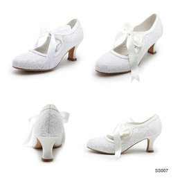 Wholesale Satin Ribbon Shoe Lace - 2015 Mary Janes Lace up White Wedding Shoes In Stock White Ivory Lace Low Heels High Quality Lace 5CM Heel Bridal Boots