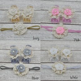 Wholesale Headband Matching Baby Barefoot Sandals - Baby Barefoot Sandals with Satin Rosette and Pearl Matching Headband Luxe Barefoot Baby Girl Headband 24set lot
