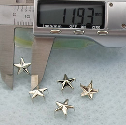 Wholesale Spikes Stars - 500pcs 12mm Five-pointed star Silver Pyramid Studs Spots Punk Rock Nailheads DIY Spikes Bag Shoes Bracelet