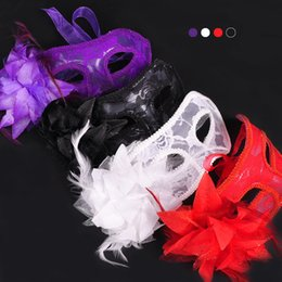 Wholesale Venice Flowers - Masquerade Party Venice Dancing Mask Side Flower Sexy Lace Princess Mask Halloween Cosplay Performance Decoration Accessories 20pcs lot D437