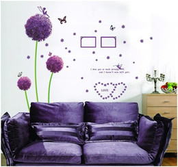 Wholesale Pig Wall Decals - % Purple Dandelion Wall Stickers Romance Decoration Wall Poster diy pvc Home Decor flower butterfly wall decals Art pig