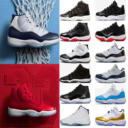 Wholesale University Rubber - (with box) 11 11s men Basketball Shoes Chicago gym red Midnight Navy PRM Heiress gamma University blue Bred Concords sports Sneaker