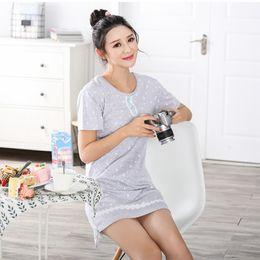 Wholesale- 2017 New Fashion 100% Cotton Nightgown Women Cute Loose Casual  Home Clothing Short Sleeve Girls Sexy Mini Nightdress Sleepwear 1607bf63e