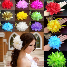 wedding hair corsage Coupons - 2015 New Flower Fascinator Elastic Pin Hair Wrist Corsage Wedding Bridal Party