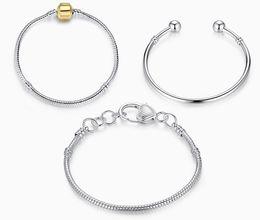 Fabricants d'argent en Ligne-Fabricants gros s925 argent sterling plaqué bricolage perles rondes serpent bracelet squelette maillon de la chaîne chaude style bijoux chaîne de base
