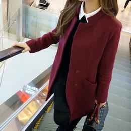 Wholesale Korean Lady S New Coat - 2016 Korea purchase new autumn and winter plus size ladies ' slim long Korean wool jacket coat women boomers