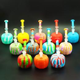 Wholesale Halloween Bowling - smoking water pipe Glass Bong Glass Halloween pumpkin Water Pipe with Glass bowl smoking water pipe