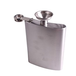 Wholesale Drink Funnel - Hight Quality Stainless 18oz Hip Drink Liquor Whisky Alcohol Flask Screw Cap Funnel Cap russian flagon flask Free Shipping LB