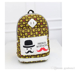 Wholesale Big Backpacks Mustache - DHL Drop shipping Backpack handbags fashion bags 2015 New hot Korean version Big Mustache Men and women Schoolbag Casual Canvas bag wholes