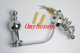 Wholesale Chastity Belt Ass Plugs - 2015 new luxury stainless steel anal toys with cock cage, ass butt plug anal sex toys for men with penis cage,chastity device belt, M013