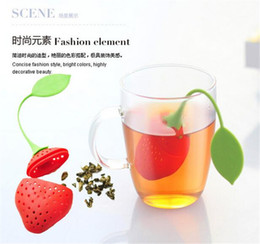 Wholesale Tea Dipper Balls - Strawberry Shape Silicon Tea Infuser Strainer Silicon Tea Filler Bag Ball Dipper Tea Tools Cup Hanger 50pcs