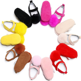 Wholesale Purple Dance Shoes - INS Baby Girls Winter Shoes Kids Solid Soft Soled Prewalker Infant Princess Cute Ball Dance Shoe