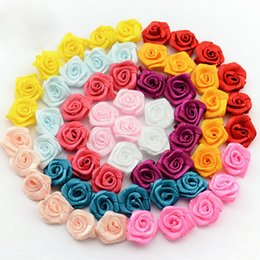 Wholesale Diy Fabric Accessories - Newborn Handmade Lovely Mini Satin Ribbon Rolled Fabric DIY Rose Flowers For Girl Hair Accessories