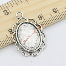 Wholesale Craft Pendant Frame Wholesale - 15pcs Tibetan Silver Plated Zinc Alloy Photo Frame Mirror Charms Pendants for Jewelry Making DIY Handmade Craft 29x20mm