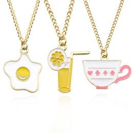 Pendentif oeuf en émail en Ligne-Mode émail poché oeufs tasses à café citron jus charme pendentif colliers pour les femmes filles à la mode femelle tour de cou collier colar
