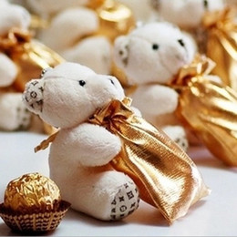 Cajas de dulces de metal de regalo de boda online-Cute Hi-Q Little Bear Haversack Candy Bag Wedding Favors Holders Supplies Gift Bag Boxes 100 unids / lote Envío Gratis