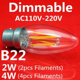 2019 светодиодные лампы накаливания Новое поступление светодиодные лампы накаливания 10 шт. / Лот E14 2W 4W Свеча Форма хвоста AC110V / 220V Встроенный постоянный ток 2700 К светодиодные лампы дешево светодиодные лампы накаливания