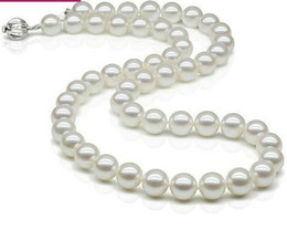 Vente en gros - Beau collier de perles japonaises akoya d'eau de mer nacrée naturelle de 8-9 mm de cercle parfait blanc presque parfait ? partir de fabricateur