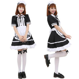 Wholesale Japanese Girl Adult - Sexy Adult Woman's Short Sleeve French Maid Servant Costume Outfit Japanese Slave Girl Lolita Fancy Dresses Partywear Exotic Apparel