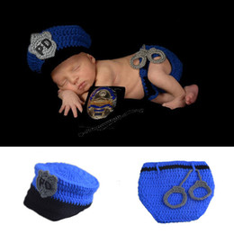 Wholesale Handmade Diapers - Top Sale Police Design Photography Props Newborn Baby Handmade Policeman Crochet Hat Diaper Set Infant Costume Outfit MZS-15067