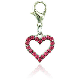 Wholesale Love Floating Charm - JINGLANG Floating Fashion Charms With Lobster Clasp Dangle Rhinestone Peach Heart Charms For Jewelry Making DIY Accessories