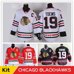 Wholesale Kids Icing Kit - 30 Teams-Wholesale Free Shipping Youth Chicago Blackhawks Hockey Jerseys 19 Janathan Toews Jersey Kids Home Red White Black kit Jerseys
