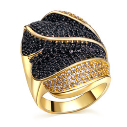 Wholesale Womens 18k Gold Rings - Gold ring Wholesale leaf Cut black & White Sapphire cz Ring Size 5 6 7 8 9 10 Hot sale fashion Sweet Jewelry Womens