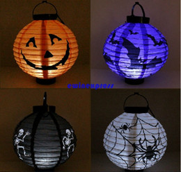 Wholesale Chinese Iron Lanterns - LED Halloween lights paper lantern Lamp Pumpkin Lights outdoor hanging chinese iron wire lantern Halloween Party decorations