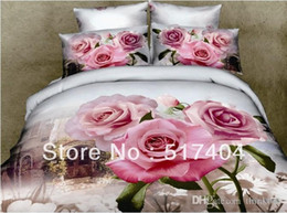 Wholesale Comforter Wedding Twill - 500TC reactive dye printing bed sexy red rose,4pc bedding set without the filling,pink rose wedding comforter sets,queen size 071919