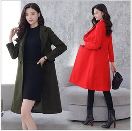 Wholesale Women Trench Coat Korean - 2017 autumn and winter new Korean version of the wool solid color temperament fashion simple wild long coat jacket coat trench coat woolen c
