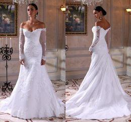 Wholesale Sexy Matures - Off Shoulder Long Sleeves Wedding Dresses 2018 Elegant Mermaid Wedding Dresses Lace Satin Mature Bridal Dresses Plus Size Wedding Dress