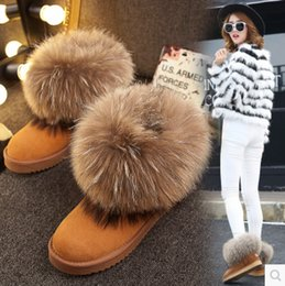 Wholesale Thick Heel Tube - 2017 autumn winter plus thick band wool Snow boots women's boots Short tube cotton shoes warm Plus velvet thick fox wool woman shoes