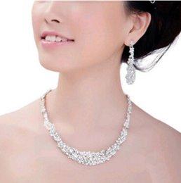 Wholesale Stylish Jewelry Sets - Wholesale-Stylish Austria Crystal Rhinestone Tassel Bridal Wedding Jewelry Statement Necklace Earring Set