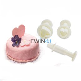 Wholesale Sugarcraft Biscuit - 3PCS Love Heart Plungers Sugarcraft Cutters Set for Biscuit Cake Fondant Decorating DIY Cake Tool New
