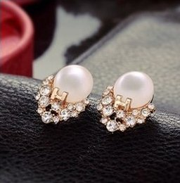 Wholesale Letter H Earrings - 2014 New HOT !!!Korean Imitate Diamond Pearl H Letter Exquisite Opal Earrings Wholesale XY-E121