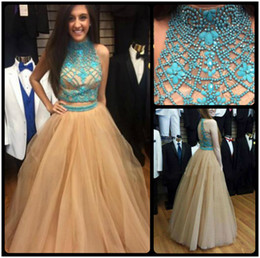 Wholesale Two Pieces Elegant Styles - High Neck Heavy Beaded Luxury Two Piece Prom Dress 2016 Latest Style Off Shoulder Elegant Long Evening Dress Girls Gowns